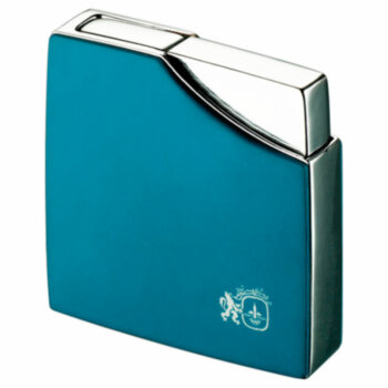Зажигалка газовая Colibri Clique Blue Rubberized & Polished Silver