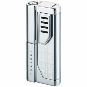 Зажигалка газовая Colibri Oscar 2 Silver Plaid & Polished Silver