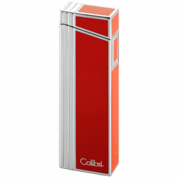 Зажигалка газовая Colibri Alias Red Stripe & Polished Silver