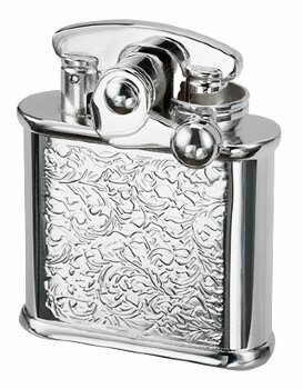Зажигалка бензиновая Colibri One hand oil lighter silver arabesque, CB 308-0023