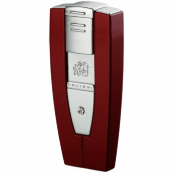 Зажигалка газовая Colibri Solitaire Red Lacquer & Satin Silver w & Diamond